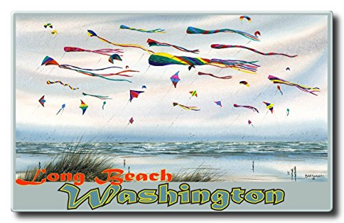 Long Beach Washington Flying Kites Aluminum HD Metal Wall Art by Artist Dave Bartholet (11 x 17.6 inch) Art Print for Bedroom, Living Room, Kitchen, Family and Dorm Room Wall - Beach Mall California Long