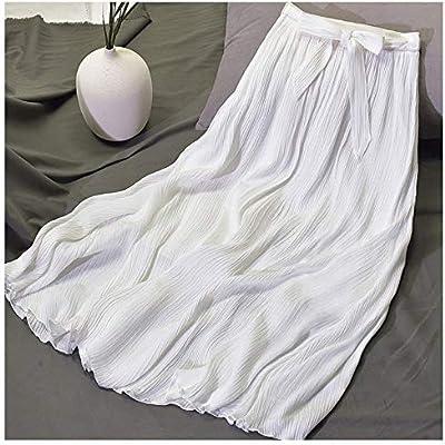 HEHEAB Falda,Blanco para Mujer Vintage Plisado Midi Falda Larga ...