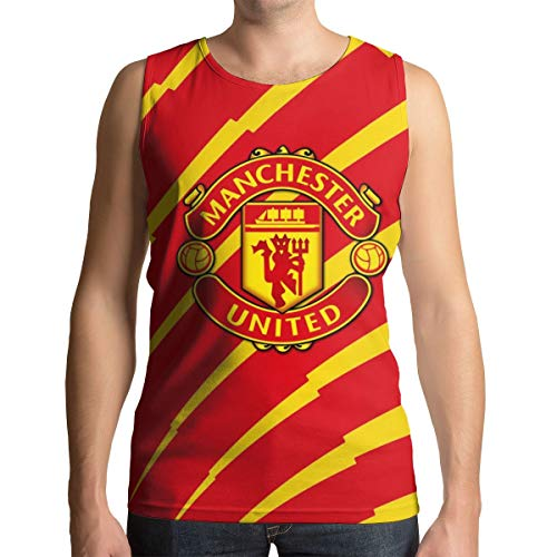 Man's Summer Manchester United Graphic Novelty Funny Cool Quick-Drying Vest Style-3 L (Note 3 Manchester United Case)