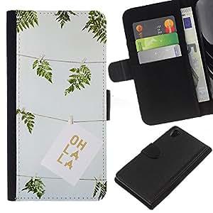 WINCASE (No Para Z2 Compact) Cuadro Funda Voltear Cuero Ranura Tarjetas TPU Carcasas Protectora Cover Case Para Sony Xperia Z2 D6502 - verde del verano oh la técnica helecho dibujo