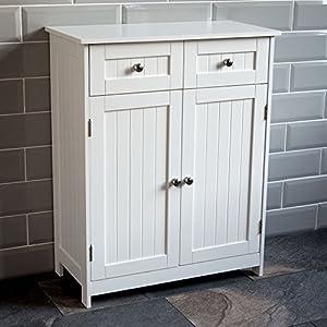 Home Discount Priano 2 Drawer 2 Door Bathroom Cabinet Storage Cupboard Floor Standing Unit