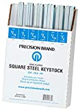 Precision Brand 14680 Square Keystock Assortment, 12″ Length, Size is Clearly Marked, Zinc Plated