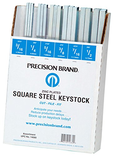 Precision Brand 14680 Square Keystock Assortment, 12″ Length, Size is Clearly Marked, Zinc ()