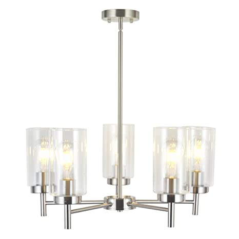 Delightful VINLUZ Contemporary 5 Light Large Chandeliers Modern Clear Glass Shades  Pendant Lighting Brushed Polished Nickel