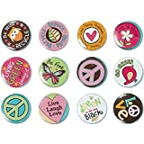 "Amscan Hippie Chick Birthday Party Buttons Favor (12 Pack), 1 1/8"", Multicolor"