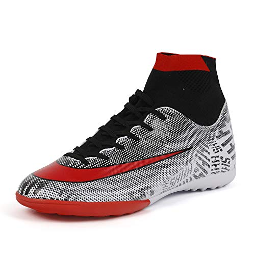 Zhenzu Soccer Cleats Turf Indoor Football Shoes High Top Sock Shock Buffer Outdoor for Toddler Training AG (11 M, White)