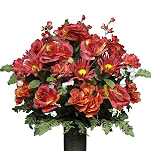 Stay-In-The-Vase Artificial Cemetery Flowers for Outdoor-Grave-Decorations - Fire Red-Rose and Hydrangea Mix Fake Flowers, Non-Bleed Colors and Design 98