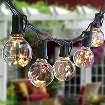 LED G40 String Lights With Clear Bulbs, NuoYo 12ft Hanging Indoor/Outdoor  Bulb String