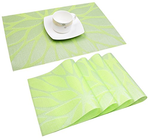 Placemats, Washable Heat Resistant Placemats for Table or Kitchen, Woven Vinyl Table Mats with Thermal Bonded Edges, Set of 4 (Lotus Leaf Green)