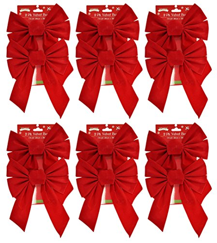 (Black Duck Brand Set of 12 Red Velvet Festive Holiday Christmas Bows - Perfect as Tree Ornaments - Tree Filler - Decorative Ornaments - Perfect for Preparing for The Holidays!)