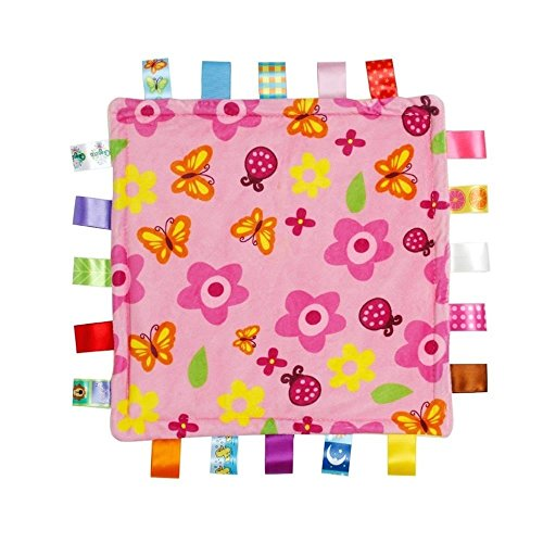 Flower Security Blanket - Infant Tag Blanket, Cute Baby Sleep Appease Towel Blanket, Ultra Soft Security Plush(11.8111.81inch,Pink Flower Pattern)