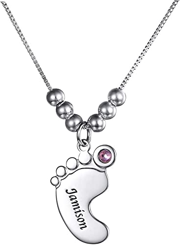 Custom Personalized Necklaces Baby Feet Name Necklace Pendant Christmas Gift