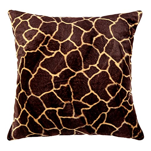 WOMHOPE 4 Pack - 18'' x 18'' Short Faux Fur Cushion Decorative Pillow Covers Animal Theme Print Style Square Throw Pillowcase Cushion Covers for Sofa,Bed,Chair,Auto Seat (F(Set of 4)) by WOMHOPE (Image #1)