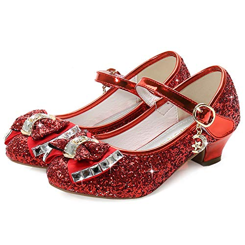 Red Girls Mary Jane Shoes Size 12 6 Yr Prom Sequins Wedding Little Girls Princess Dress Shoes Party 6T Toddler Glitter Shoes Medium High Heels for Girls 7 Year Old Cute (Red 30)