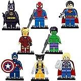 BTZ 8pcs/lot Super Heroes Series Superman Batman Wolverine Hulk MiniFigures Building Blocks Toys With Non-Retail Packing
