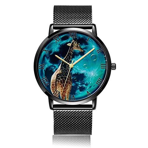 Whiterbunny Customized Giraffe Planet Wrist Watch Unisex Analog Quartz Fashion Black Steel Bracelet Wristwatch for Women and Men