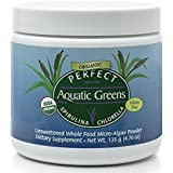 Perfect Organic Aquatic Greens ~Unsweetened~ Spirulina and Chlorella Freeze-Dried Powder, 135 grams ~by Perfect Supplements