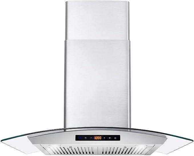 Cosmo COS-668WRCS75 Pro-Style - Campana de montaje en pared (760 CFM, vidrio templado, ventilador de 3 velocidades, acero inoxidable): Amazon.es: Grandes electrodomésticos