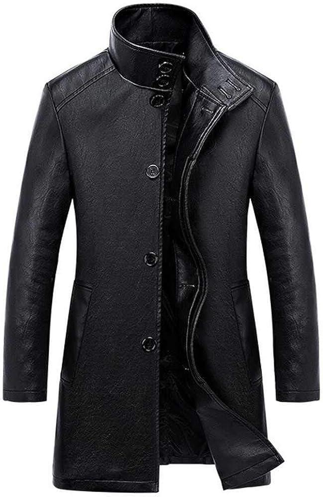 NOBRAND - Chaqueta de cuero para hombre de la nueva sección larga delgada de cuero de la trinchera masculina de color sólido chaquetas de cuero