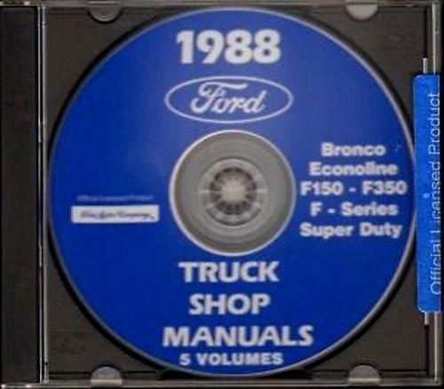 1988 FORD VAN E150 E250 E350 REPAIR SHOP MANUAL CD INCLUDING; Econoline, Club Wagon, Super Wagon Cargo Van Window Van ()