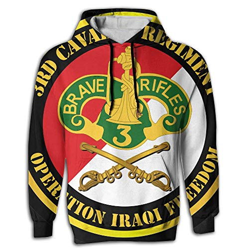 CCCMMMQF 3rd Armored Cavalry Regiment DUI - Red White Men 3D Pullover Long Sleeve Hoodies Tops ()