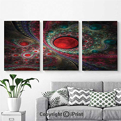 Modern Salon Theme Mural Round Circle Object Motifs Sphere Forms Vintage Medieval Design Pearls Oyster Dark Print Painting Canvas Wall Art for Home Decor 24x36inches 3pcs/Set, - 36 Oyster White Post Inch