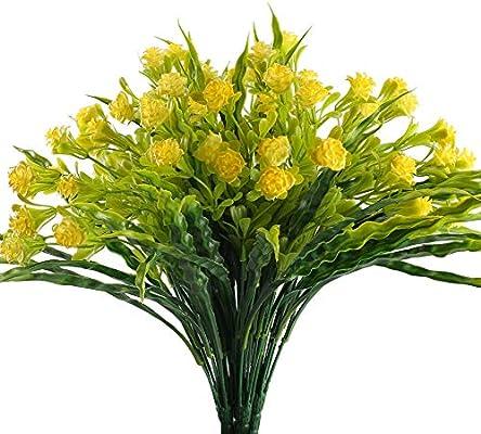 NAHUAA Fake Plants 4PCS Artificial Daisy Flowers Greenery Bush Faux...