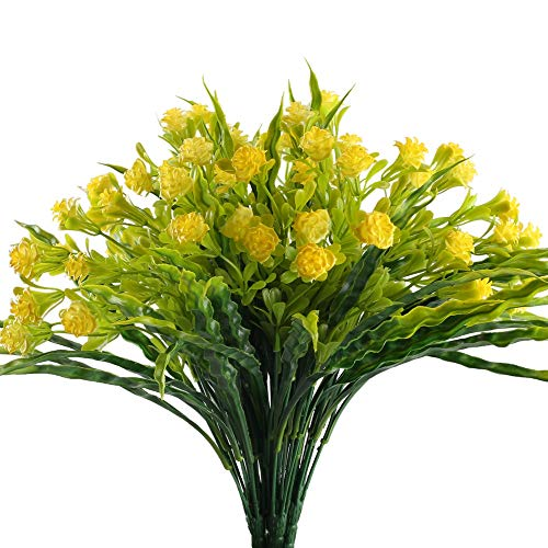 Yellow Artificial Spray - Nahuaa Outdoor Fake Plants 4PCS Artificial Yellow Flowers Bundles Faux Shrubs Plastic Seaweed Bushes Table Centerpieces Arrangements Home Kitchen Office Windowsill Summer Decorations