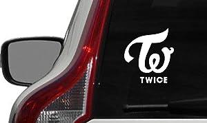 Twice Text Logo Car Vinyl Sticker Decal Bumper Sticker for Auto Cars Trucks Windshield Custom Walls Windows Ipad MacBook Laptop Home and More (White)