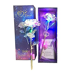 24K Colorful LED Light Rose Artificial Flowers Valentine's Day Lovers' Gift Romantic Flower with Love Base, Best Gifts for Her for Girlfriend Wife Women 83