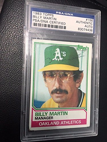 1983 topps BILLY MARTIN auto signed MANAGER jsa YANKEES gem a'S - PSA/DNA Certified - Baseball Slabbed Autographed Cards