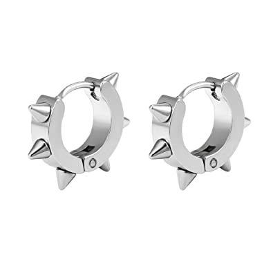 3bc0b135d Stainless Steel Spike Nails Hoop Earrings For Men Women Gift Punk Style  Huggie Hoop Gothic Jewelry