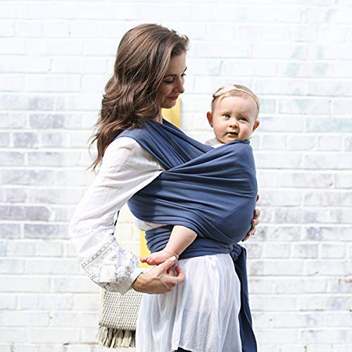 Boba Wrap Baby Carrier, Vintage Blue - Original Stretchy Infant Sling, Perfect for Newborn Babies and Children up to 35 lbs (Best Rated Infant Carriers)
