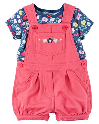 Carter's Baby Girls 2-Piece Top & Shortalls Set (Red) (12 (Carters Shortall)