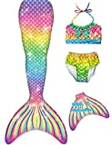 YITU Mermaid Tails Swimmable Costume Swimsuit for Girls, Kids Swimming(with Monofin) -Rainbow River-120