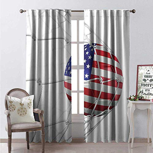 Hengshu Sports Room Darkening Wide Curtains USA American Flag Printed Soccer Ball in a Net Goal Success Stylized Artwork Waterproof Window Curtain W108 x - Pearl Pearl Antique Sandstone