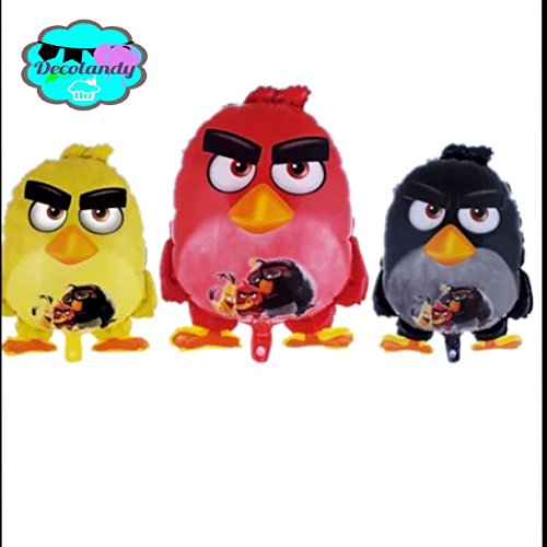 NEW 3 ANGRY BIRDS BALLOONS,RED BLACK AND YELLOW,THE ANGRY BIRDS PARTY DECORATION