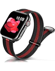 Sunnywoo Metal Stainless Steel Band Compatible with Apple Watch Bands 38mm 40mm 42mm 44mm,Metal Loop Adjustable Strap Magnetic Replacement Wristband for iWatch Series 7 6 5 4 3 2 1 SE for Women Men