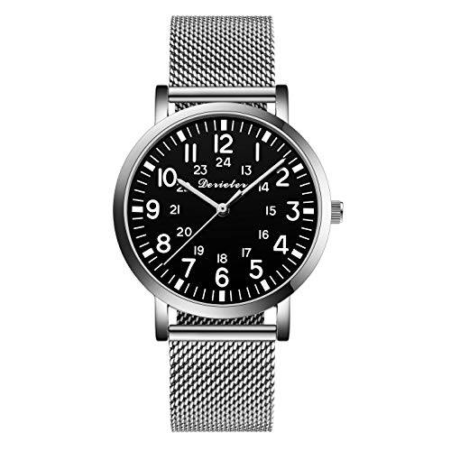 Unisex Men Women Stainless Steel Mesh Milanese Strap Band Quartz Watch Lady for Medical Professionals Arabic Numerals Military Time for Students Doctors Nurses (Silver Black-2)