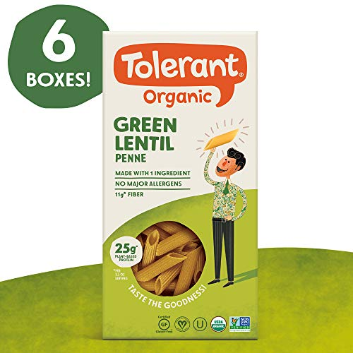 (Tolerant Organic Gluten Free Green Lentil Penne Pasta, 8 Ounce Box (Case of 6), Plant Based Protein, Vegan Pasta, Single Ingredient Protein Pasta, Whole Food, Clean Pasta, Low Glycemic Index Pasta)