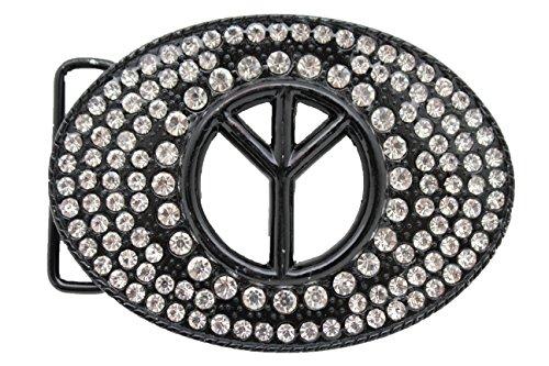 Hippie Peace Belt (TFJ Men Women Belt Buckle Western Fashion Big Metal Peace Sign Silver Beads Black)