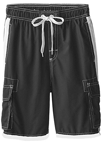Boys Quick Dry Swim Trunks Cargo Water Shorts with Mesh Lining (Black, ()