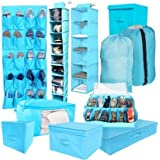 10PC Complete Organization Set - TUSK Storage - Aqua (Includes Bonus Laundry Bag)