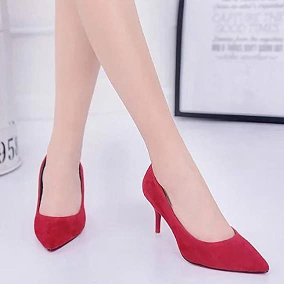 ¡Oferta de liquidación! Mujeres de Covermason Nude Fashion Elegant Ladies Office Trabajo Flock High Heels Shoes(39 EU, rojo): Amazon.es: Ropa y accesorios