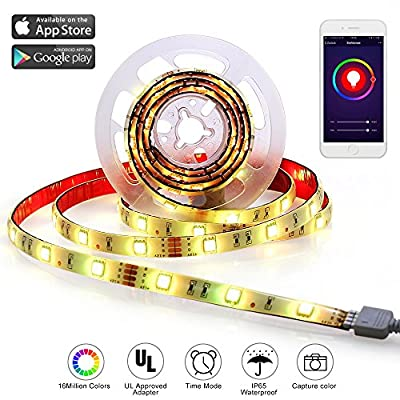 LED Strip Led Light Strip RGB Led Tape Strip Lights With Wifi Wireless Smart Phone Controlled 6.5Ft(2M)Strip Light Kit 5050 DC 12V DIY Flexible Waterproof Working with Android and IOS System, Alexa