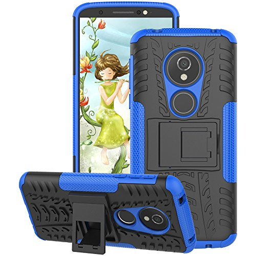 Motorola Moto G6 Play Case 2018, Moto G6 Forge Case, GSDCB Air Cushion Heavy Duty Shockproof Phone Protective Case with Kickstand Hard PC Back Cover Soft TPU Dual Layer for Women Men Girl Boy (Blue)