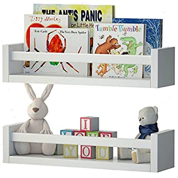 wallniture utah set of 2 nursery room wood floating wall shelves white - Baby Room Bookshelves