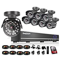 TMEZON 800TVL CCTV Surveillance Camera System 16CH H.264 HDMI DVR P2P 8 High Resolution Weatherproof Day/Night Security Cameras with 24pcs IR CUT 1TB HDD
