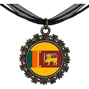 Chicforest Bronze Retro Style Sri Lanka flag Round With Flower Lace Pendant