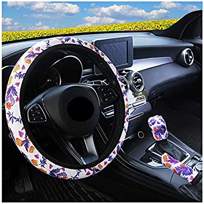 Ranxizy Neoprene Cloth Washable Sunflower Steering Wheel Cover Handbreak Cover Gear Shift Cover for Universal Car 1 Set 3 Pcs: Automotive
